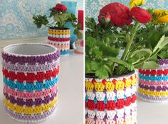 Flowerpot around a can. With tutorial. Handwerkjuffie.