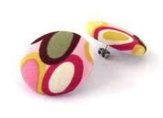 Big post earrings studs retro olive green mustard by KooKooCraft, $13.50