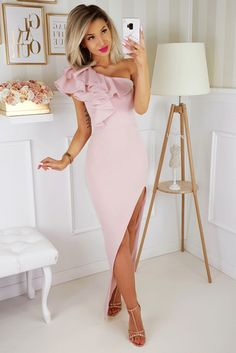 Ashley_pudrowy_roz_sukienka_na_wesele Semi Formal Wedding, Casual Wedding, Pink Bodycon Dresses, Prom Dresses, Summer Dresses, Formal Evening Dresses, Evening Gowns, Long Cocktail Dress, Floor Length Gown