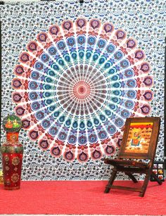LARGE PSYCHEDELIC mandala indian tapestry, hippie wall hanging tapestries, boho bohemian bedding throw bedspread, ethnic wall decor