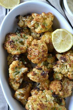 An easy recipe fir Crispy Baked Cauliflower Poppers that are loaded with flavor and taste like french fries for a satisfying and guilt-free treat! Vegetarian Recipes, Cooking Recipes, Healthy Recipes, Warm Salad Recipes, Cauliflower Poppers, Easy Cauliflower Recipes, Baked Cauliflower Wings, Parmesan Roasted Cauliflower, Grilled Cauliflower