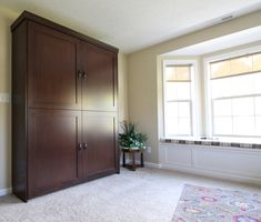 Our customer chose the Bedder Way Vertical Queen Shaker Face Murphy bed in maple stained Country Pine with black handles. Maple Stain, Murphy Bed, Armoire, Pine, Queen, Country, Gallery, Furniture, Black