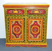 Superior Hand Painted Sideboard Cabinet Buffet Colorful Indian Moroccan Multi Color  Boho