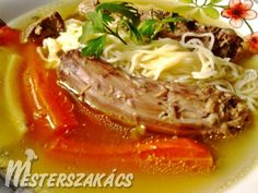 Kacsaaprólék leves recept Thai Red Curry, Beef, Ethnic Recipes, Food, Red Peppers, Meat, Essen, Meals, Yemek