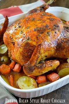 Rican Style Whole Roasted Chicken . - Chicken Recipes -Puerto Rican Style Whole Roasted Chicken . Whole Chicken Recipes Oven, Whole Roast Chicken Recipe, Whole Baked Chicken, Roast Chicken Recipes, Stuffed Whole Chicken, Recipe Chicken, Spanish Roasted Chicken Recipe, Roast Chicken With Stuffing, Steak Recipes