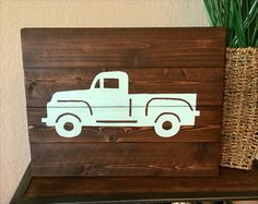 Items similar to Vintage Truck Silhouette - Pallet Wood Silhouette Painting - Boys Nursery Decor - Rustic Wall Decor on Etsy Vintage Truck Nursery, Vintage Trucks, Rustic Nursery Decor, Nursery Decor Boy, Wood Pallets, Pallet Wood, Diorama, Boy Room Paint, Truck Paint