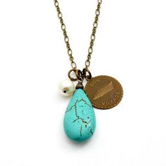 Turquoise Nautical Necklace Ocean Wedding by laurenblythedesigns, $28.00