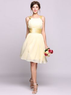 Women A-Line pleated Chiffon Knee-length Bridesmaid Dress With Charmeuse Sash