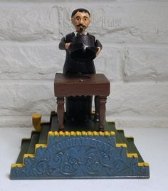 The Magician John Wright Cast Iron Mechanical Bank Reproduction New Limited Ed #JohnWright