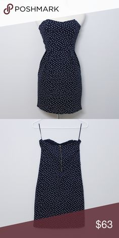 """ZARA Navy Blue & Polka Dot Fitted Strapless Dress Bust: approx. 14"""" Length: approx 26"""" (shoulder to hem)  A super cute navy blue strapless dress. Structured torso. Stretchy fabric. No holes, stains or imperfections. Comes from a smoke free environment.  📦Bundles welcome 👌🏻Offers welcome through offer button. ❌NO trades, please. ⚡️Same/Next day shipping Zara Dresses"""