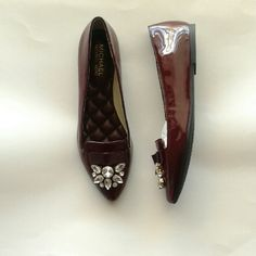 Burgundy merlot patent leather bow felicity flats Leather upper, rubber outsole,  bow accent in front, cushioned footbed MICHAEL Michael Kors Shoes Flats & Loafers