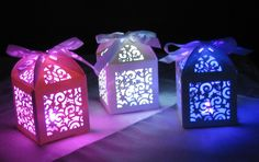 Stunning Party Decoration - Super Bright LED light in laser cut box - 6 colours. Wedding Table Decorations. Wedding Gifts. Our amazing Super Bright LED lights will light up any party or celebration.