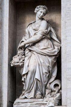 Abundance by Filippo della Valle, Trevi Fountain, Rome. Baroque Sculpture, Roman Sculpture, Art Sculpture, Sculptures, Allegorical Sculpture, Greek Statues, Italian Statues, Art Ancien, Stone Statues