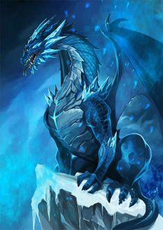 An ice dragon, annoyed at the cameraman for taking his picture when he wasn't ready.