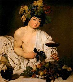 Bacco. Dipinto a olio su tela, di dimensioni 95×85 cm. Datato 1596 si trova oggi nella Galleria degli Uffizi di Firenze.