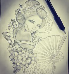 64 Ideas Japanese Tattoo Drawings Geishas For 2019 Japanese Tattoos For Men, Japanese Tattoo Art, Japanese Tattoo Designs, Japanese Sleeve Tattoos, Japanese Art, Japanese Prints, Traditional Japanese, Tattoo Traditional, Geisha Tattoos