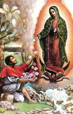 Our Lady of Guadalupe appearing to St. Juan Diego.
