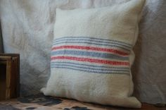 vintage homespun wool pillow