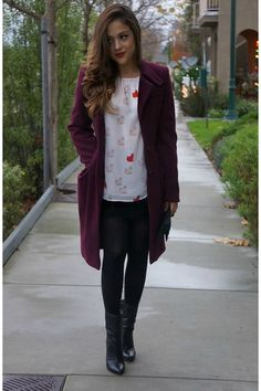 brick red wool rachel roy coat - white cats Zara blouse
