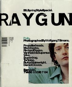 Ray Gun was an American alternative rock and roll magazine, first published in 1992 led by founding art director David Carson. David Carson is best known for his innovative magazine designs and dec… Poster Cars, Poster Sport, Poster Retro, Gig Poster, Movie Posters, David Carson Design, Paula Scher, Graphic Design Posters, Graphic Design Typography