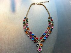 Vintage gold tone multicolor rhinestone crystal statement necklace costume jewelry FREE SHIPPING on Etsy, USD $66.18 / HKD $500.00