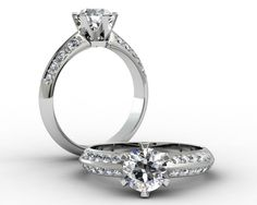 18ct White Gold Engagement Ring Set With A .72ct F/SI2 And 20= .30cts Grain Set Shoulder Diamonds $7,450