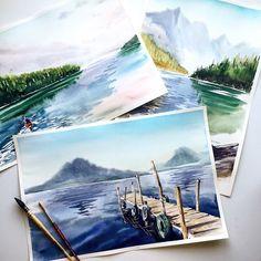 Landscape painting practice #watercolor #kalachevaschool #aquarelle #art…