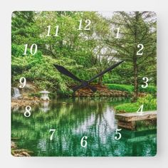 Spring Green Reflections Square Wall Clock Springfield Missouri, Green Landscape, Spring Green, Wall Clocks, Spring Time, Pond, Reflection, Waterfall, In This Moment