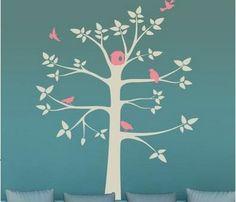 Grey Tree with Pink Birds