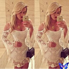 Encontre mais Vestidos Informações sobre Novo 2015 roupas femininas crochê Branco Vestido de renda Off alças de ombro partido manga Vestido de lótus Peplum Vestido Vestido Branco Festa, de alta qualidade pijama vestido, vestido da minha menina de 5 China Fornecedores, Barato roupas para mulheres maiores de Jixin  em Aliexpress.com