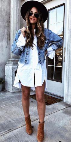 cute ootd hat   denim jacket   long shirt