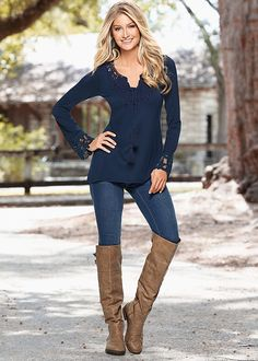CROCHET AND TASSLE TOP, COLOR SKINNY JEAN, BUCKLE KNEE HIGH BOOT