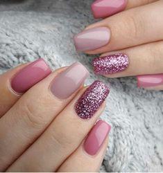 Pastel Nails, Cute Acrylic Nails, Cute Nails, Pink Gel Nails, Glittery Nails, Gel Nails With Glitter, Turquoise Toe Nails, Purple Nail, Pink Nail Art