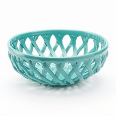 Start every meal with warm bread served in this Food Network Turquoise Aqua Bread Basket. Its lovely lattice design is sure to perfectly complement any occasion or dining room decor. Turquoise Kitchen Decor, House Of Turquoise, Aqua Decor, Aqua Kitchen, Diy Kitchen, Kitchen Storage, Azul Tiffany, Tiffany Blue, Cow Creamer