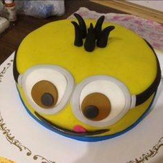 Minion chocolate cake decorated with marzipan and fondant.