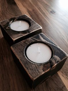 Wooden Candle holders Set by TheRusticPalette on Etsy, $24.00