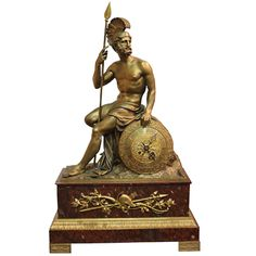 19th Century Italian Empire Neoclassical Bronze Ormolu and Rosso Antico Marble