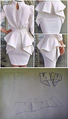 The Perfect Peplum Dress in White. Diy Clothing, Sewing Clothes, Clothing Patterns, Dress Patterns, Sewing Patterns, Fashion Sewing, Diy Fashion, Fashion Dresses, Fashion News