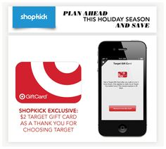 Target Fans, don't miss this! Get a Free Gift Card fromShopkick - #target #freebie