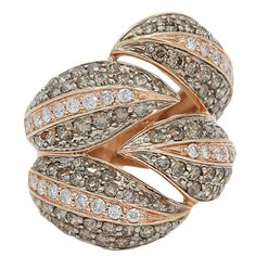 Gorgeous Brown Diamond Rose Gold Fashion Ring 1