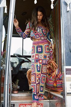 The Carnaby Crochet Skirt is THE ultimate festival/party/roadtrip wear this season. Vibrant crochet granny squares form a long skirt, with adjustable tie at wai Hippie Style, Mode Hippie, Hippie Boho, Bohemian Style, White Bohemian, Crochet Skirts, Crochet Crop Top, Crochet Clothes, Mode Crochet