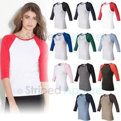 Bella Ladies 3 4 Sleeve Baseball T Shirt s 2XL Womens Raglan Tee 2000 New | eBay
