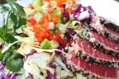 Let's Cook: Seared Tuna and Asian Slaw Salad – ModernMom Fish Recipes, Seafood Recipes, Asian Recipes, Beef Recipes, Healthy Recipes, Healthy Salads, Healthy Food, Asian Slaw Salad, Seared Tuna