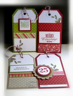 Tags use up scrap xmas paper