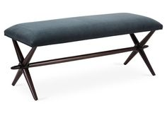 In a stunningly rich velvet the color of the Caspian Sea, our Wayland X-Bench is just as elegant as it is handsome.