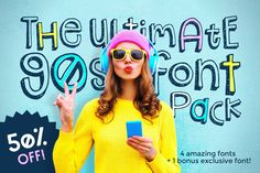 Ad: The Ultimate Font Pack by Denise Chandler on Oh Snap! The Ultimate Font Pack is here! Four fonts oozing with that casual fun style that defined the decade, bundled together and Design Typography, Typography Fonts, Script Lettering, Calligraphy, Texture Web, Create Font, Font Packs, Retro Font, Handwriting Fonts