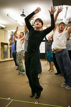 Dan Radcliffe in rehearsal for How To Succeed In Business Without Really Trying.