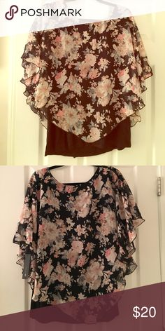 Floral Poncho Top Sheer poncho lays over black tank top. New with tags. AB Studio Tops Blouses