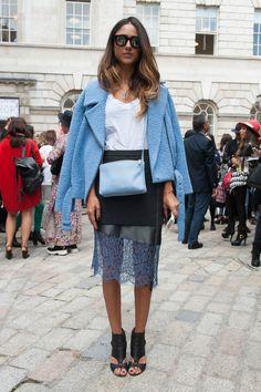 Spring outfit: light blue biker jacket, white T-shirt, black lace skirt, black heels, light blue bag