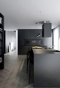 Grey Kitchen Designs, Rustic Kitchen Design, Kitchen Room Design, Home Decor Kitchen, Interior Design Kitchen, New Kitchen, Kitchen Modern, Kitchen Cupboards, Wood Cabinets